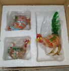 Hand Blown Vtg Glass Figurines Chickens set of 3