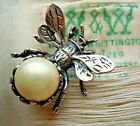 Antique Guglielmo CINI Sterling  Glass Pearl FLY Insect 3D Pin Signed c1930