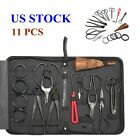 Bonsai Tools Set 10Pcs Kit Cutter Scissor Shears Tree w Nylon CaseCarbon Steel
