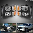 For 07 13 Chevy Silverado 1500 2500 3500 Amber Headlights Black Replacement