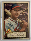 Enos Slaughter 1952 Topps - No. 65 - Autograph Auto - On Card! - Black Back