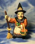 7 Midwest Painted Resin Witch Figurine w Basket Broom  Frog Halloween GUC