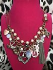 Betsey Johnson Vintage Love Birds Swan Star Heart Love Spinner Opal Necklace