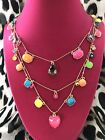 Betsey Johnson Retro Rainbow Neon Multi Color Ombre Heart Cabochon Necklace