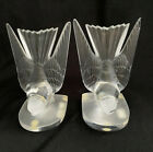 PAIR OF LALIQUE CRYSTAL HIRONDELLE SWALLOW BIRDS BOOKENDS SIGNED FRANCE