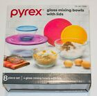 Pyrex Glass 4 Sculpted Mixing Bowls with 4 Colored Lids Various Sizes In Box