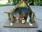 Vintage Nativity Set W Creche Manger Stable Italy LIGHTED