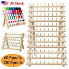 60 120 Spool Wooden Sewing Thread Rack Stand Embroidery Cone Holder Organizer U