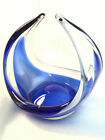 Art Glass Heavy Sommerso Basket Split Handle Cobalt Blue And Clear 6 Tall