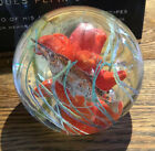 Egermann Red Coral Fish Clear Paperweight Glass Magnum 4W Czech Republic Bubble