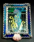 UNIQUE GLASS MIRROR BACKED TRINKET BOX WITH HAND PAINTED GLASS SEAHORSE COVER