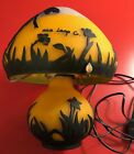 Mica Lamp Co Mushroom Style Dragonfly Table Top Orange Glass 11 RARE