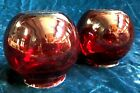 Pair of super Rare Antique Ruby Red Glass Globes or Shades