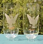 Vtg Pair of 105 Hurricane Candelabra Glass Shades w Etched  Cut Eagle 1 5 8