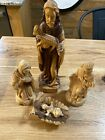 Five Piece Hand Carved Wood Nativity Scene Jerusalem Great Detail Christmas