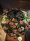 RARE ANTI MOSAIC UNIQUE ART  METAL STAINED GLASS LAMP BRANCH BASE 3 Socket