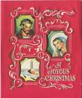 VINTAGE CHRISTMAS DIE CUT VIGNETTE NATIVITY CHRIST MARY JOSEPH RED GREETING CARD