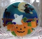 Peggy Karr 8 diameter Halloween plate ghost witch bat cat Fused art glass VGUC