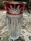 BEAUTIFUL LARGE CLEAR TO RED CUT GLASS VASE VERY NICE 12 TALL UNBRANDED