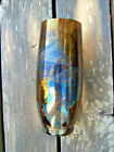 Amber Glass Vase with Dichroic Panels Studio Art Contemporary Unsigned 10x4