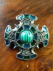 Vintage Signed Miracle Celtic Zoomorphic Serpents Glass Cabochon Brooch Pin