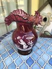Vintage Mary Gregory Style Cranberry Pitcher May Be Fenton