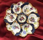Cobalt Blue Gold Floral 6 Well Oyster Plate Hand Painted Dish