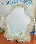 ANTIQUE MURANOi Venetian GLASS MIRROR with glass flowers 11X12 Easel Style