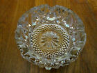 VINTAGE CLEAR CRYSTAL GLASS CIGAR ASHTRAY 4 SLOT DIAMOND CUT ETCHED FLOWER 5