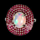 Unheated Oval Fire Opal Hot Rainbow Luster 10x8mm Ruby 925 Sterling Silver Ring