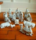 Vintage Nativity Set of 12 Hand Painted Porcelain White Gold 2000 Collection WOW
