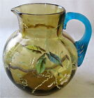 Victorian Bohemian at glass enameled blue handled amber optic pitcher 4 1 2 h