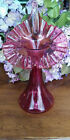 Fenton Art Glass Cranberry Glass  Jack In The Pulpit Vase  Ruffled Edge 11