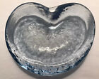 Vintage Retro BLENKO Winslow Anderson Glass Heart Shaped Dish Light Blue 50s