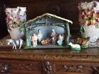 Vintage Nativity Set Crche Figures Holy Family Angels Cow Donkey Sheep Italy