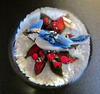 Rick Ayotte Paperweight Art Glass 225 inch 1999 Collectible Blue Waxwing Snow