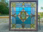 Victorian c1890 Antique 34 x 31 Stained Glass PA Church Window Rondels Beveled