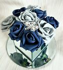 Artificial BLUE AND SILVER FLOWER ARRANGEMENT IN MIRROR CUBE GLASS VASE Hat box