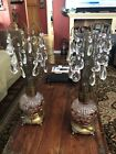 Pair Vtg ART DECO Hollywood Regency Cranberry Glass WATERFALL Prism 2 TABLE LAMP