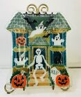 PEGGY KARR GLASS RETIRED HALLOWEEN HAUNTED HOUSE PLATE WITH BOX