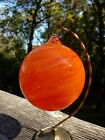 James Hayes 4 Signed Hand Blown Glass Ornament Orange