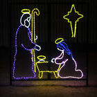 Christmas Rope Light Display LED Nativity Holy Family Manger Scene Display