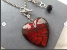 Dark RED Heart Glass Heart CZECH GLASS HEART NECKLACE Christmas Gift