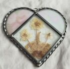 STAINED GLASS HEART WITH DRIED FLOWERS LASTING IMPRESSIONS REAL FLOWERS