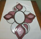 Stained Glass Panel Suncatcher Beveled Pink Etched Flowers Teardrop Shape GH6