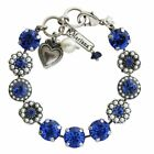Mariana Silver Royal Blue Glass Pearl Mosaic Large Swarovski Crystal Bracelet