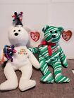 Ty Beanie Baby (Lot of 2): New Year Bear and 2007 Holiday Teddy