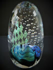 RANDY STRONG Abstract Dichroic Glass  Controlled Bubbles Art Glass Paperweight