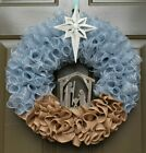 Lighted NATIVITY MANGER Wreath with Large STAR of BETHLEHEM Christmas Holiday