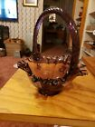 fenton glass hand painted Grapes and Leafs royal purple basket